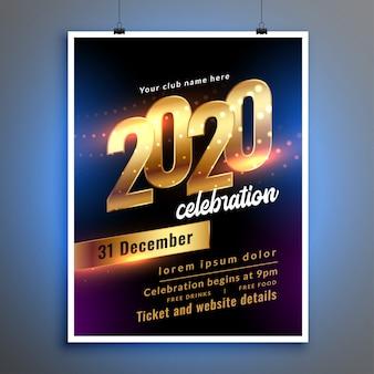 Feliz año nuevo celebración fiesta folleto o cartel plantilla