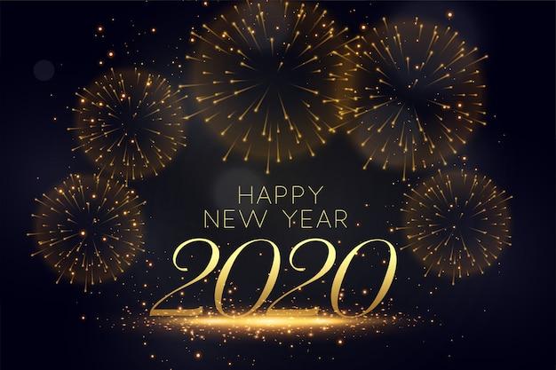 Feliz año nuevo celebración fuegos artificiales elegante fondo