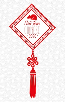 Feliz año nuevo chino 2020 con diseño de ilustración vectorial de decoración