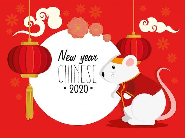 Feliz año nuevo chino 2020 con rata y decoración