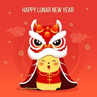 Feliz año nuevo chino 2020 rata zodiaco rata pequeña con cabeza de danza del león