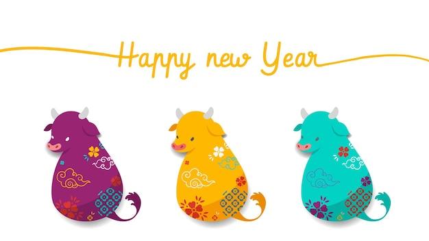 Feliz año nuevo chino 2021, año del buey. tres símbolos del zodíaco chino de buey.