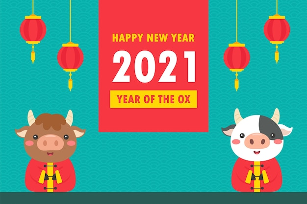 Feliz año nuevo chino 2021 vaca de dibujos animados tarjeta de felicitación con cartel de saludo rojo en el año nuevo
