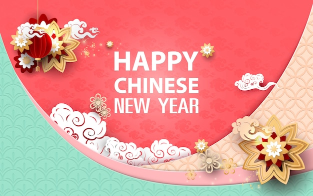 Feliz año nuevo chino. asiático tradicional floral con fondo de nubes