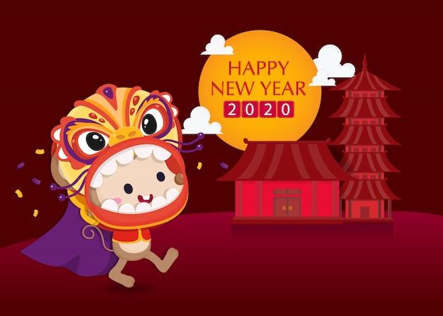Feliz año nuevo chino. linda rata con traje chino con adornos chinos. plantilla de año nuevo chino. el año de la rata.