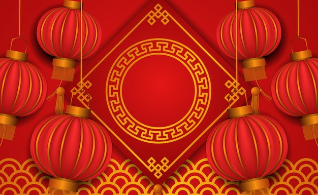 Feliz año nuevo chino. linterna roja de tradición 3d con elemento dorado