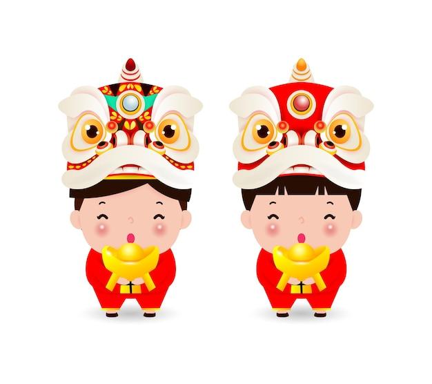 Feliz año nuevo chino niño y niña china en traje chino y cabeza de danza del león