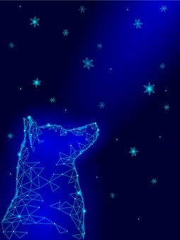 Feliz año nuevo chino de perro, laika sentada mirando hacia arriba cielo copos de nieve geométricos