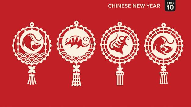 Feliz año nuevo chino de personaje de rata cortada en papel, linterna y marco de celosía