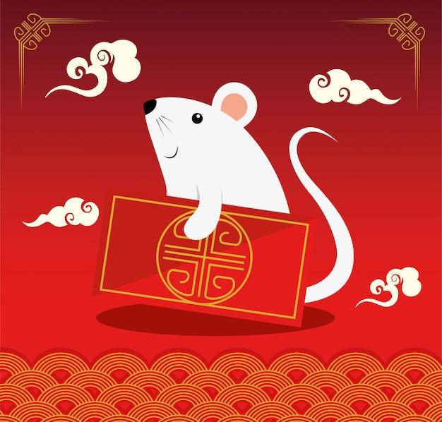 Feliz año nuevo chino con rata y decoración