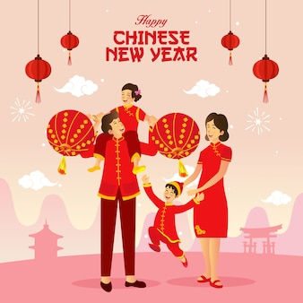 Feliz año nuevo chino saludo ilustración una familia china jugando linternas chinas celebrando el año nuevo chino