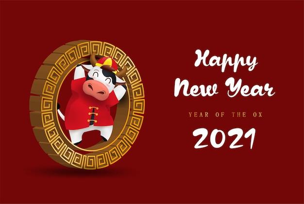 Feliz año nuevo chino zodíaco del buey. carácter de vaca lindo en traje rojo.