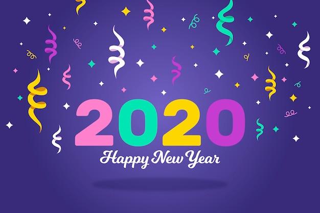 Feliz año nuevo con cintas de colores.