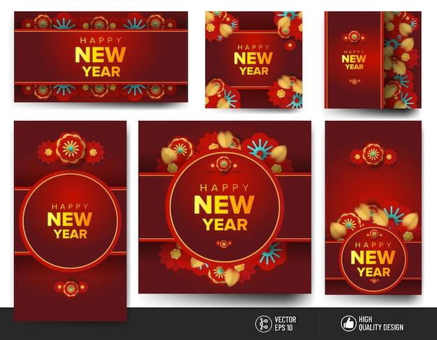 Feliz año nuevo colección de tarjetas de felicitación chinas
