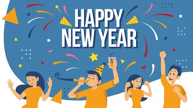 Feliz año nuevo concepto de diseño de carteles de celebración