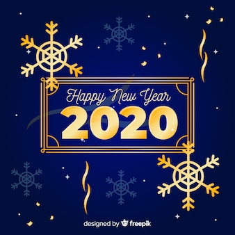 Feliz año nuevo concepto con diseño dorado