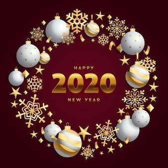 Feliz año nuevo corona de navidad de oro y blanco en suelo vinoso