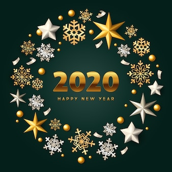 Feliz año nuevo corona de navidad de oro y plata sobre fondo verde