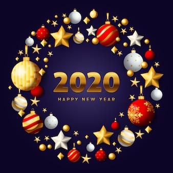 Feliz año nuevo corona de navidad oro y rojo sobre fondo azul