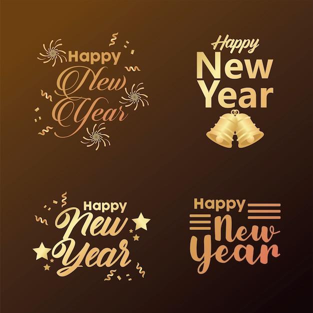 Feliz año nuevo cuatro letras doradas ilustración