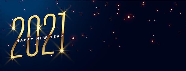 Feliz año nuevo con destello dorado brillante en azul