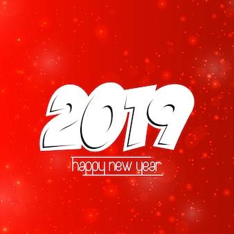 Feliz año nuevo diseño 2019 con fondo rojo