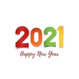 Feliz año nuevo. diseño abstracto de papel de colores sobre fondo blanco.
