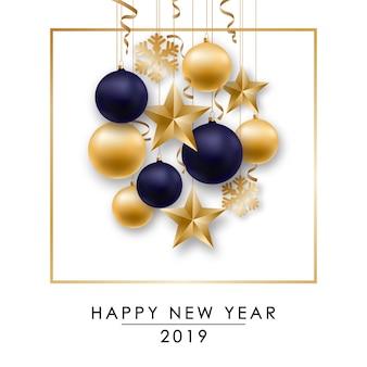 Feliz año nuevo diseño con bolas brillantes.