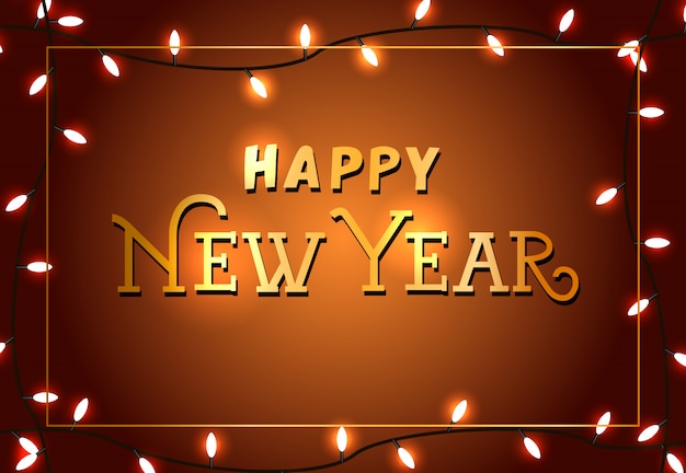 Feliz año nuevo diseño de cartel festivo. luces de navidad