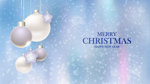 Feliz año nuevo. diseño de fondo de navidad con bolas decorativas con fondo borroso.