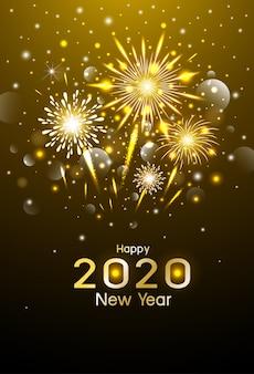 Feliz año nuevo diseño de fuegos artificiales de oro en la noche