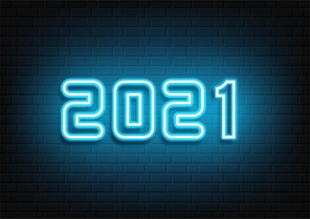 Feliz año nuevo diseño de neón. 2021 texto de neón. signo de año nuevo de neón 2021. ilustración de vector.