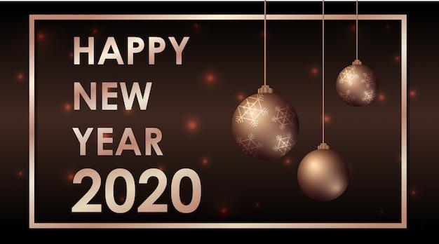 Feliz año nuevo diseño de tarjeta de felicitación con adornos