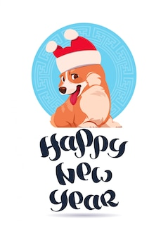 Feliz año nuevo diseño de tarjeta de felicitación con letras y corgi perro con sombrero de santa