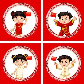 Feliz año nuevo diseño de tarjeta de felicitación con niños