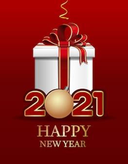 Feliz año nuevo . diseño de tarjeta de navidad con caja de regalo y juguete de árbol de navidad. letras de navidad estilizadas.