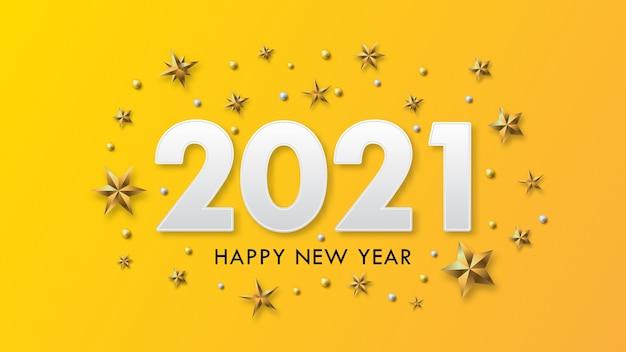 Feliz año nuevo diseño de texto con golpes de oro y estrellas sobre fondo amarillo.