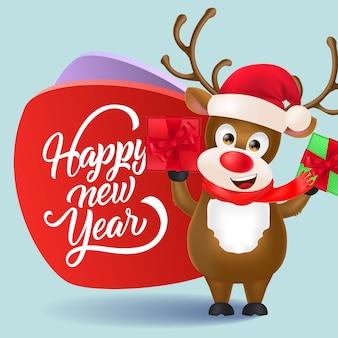 Feliz año nuevo diseño de volante. reno navideño con regalos.