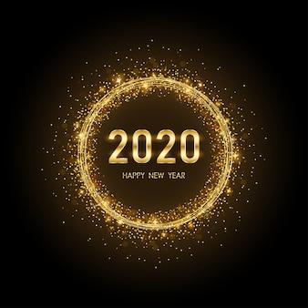 Feliz año nuevo dorado 2020 en círculo anillo de fuegos artificiales con fondo negro brillo explosión