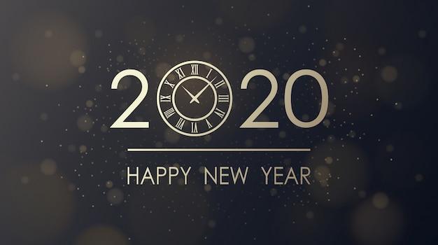 Feliz año nuevo dorado 2020 y esfera del reloj con fondo negro brillo de ráfaga