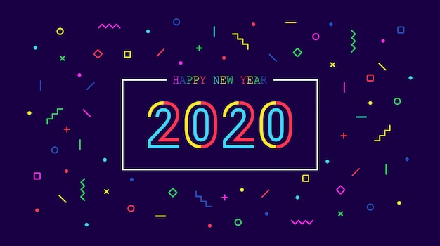 Feliz año nuevo dorado 2020 con gráfico de neo memphis sobre fondo de color azul