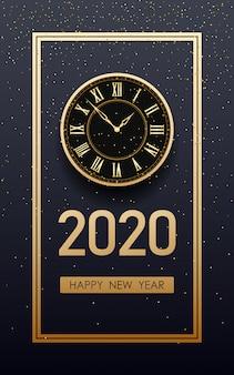 Feliz año nuevo dorado 2020 y reloj con brillo sobre fondo de color negro