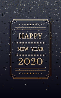 Feliz año nuevo dorado 2020 en vertical con brillo sobre fondo de color negro