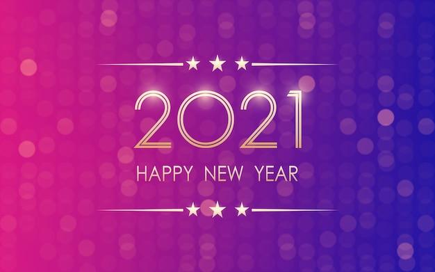 Feliz año nuevo dorado 2021 con patrón bokeh en color luz neón