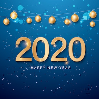 Feliz año nuevo dorado y azul