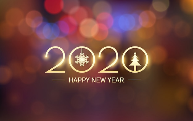Feliz año nuevo dorado brillante 2020 con bokeh y destello de lente en fondo naranja vintage