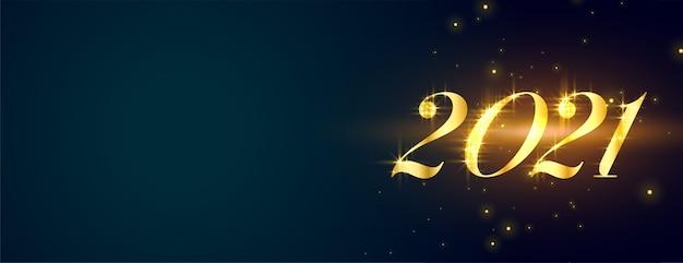 Feliz año nuevo dorado brillante con estilo en banner azul