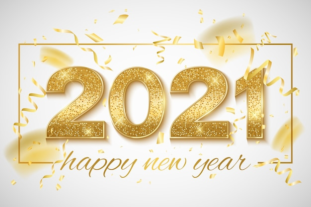Feliz año nuevo dorado brillantes números con confeti y oropel sobre un fondo brillante.