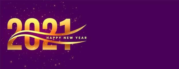 Feliz año nuevo dorado elegante sobre fondo púrpura