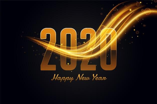 Feliz año nuevo dorado y negro hermoso saludo